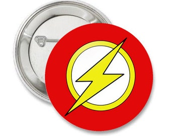 Flash Comic Book Symbol Logo Pinback Button Badge or Magnet or Keychain - Comic Con, Superhero Patch Icon, Lightning Pin, Gift Idea