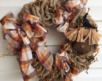 Scarecrow fall burlap wreath