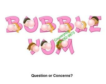 T-shirt - Your Name in -- BUBBLE YUM - chewing gum - personalized - custom - bubbles - Bazooka Joe