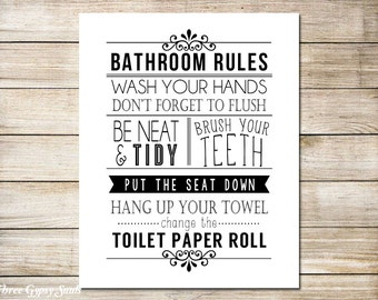Bathroom Sign Texture bathroom rules sign printable art bathroom decor bathroom