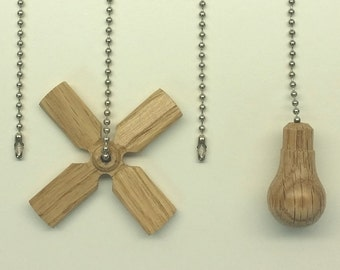 Fan Pulls - Free Shipping! Ceiling FanDanglers (14 Varieties) OAK - Never Pull The Wrong Chain Again!