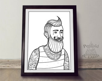 Woodcut style sailor with tattoos, a big beard. A4 monochrome affordable art print.