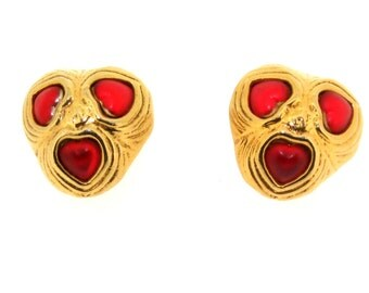 Vintage Heart Earrings by Une Ligne Paris Red Love
