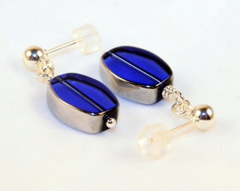 Sapphire Blue and Silver drop post nickle free earrings