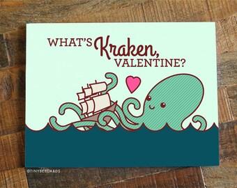 "Funny Valentine Card ""What's Kraken?"" - Funny kraken card, boyfriend girlfriend card, pirates card, geeky nerdy pun, valentine's day card"