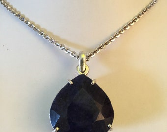 Blue Sapphire Pendant, Large 108cts Pear-cut Sapphire Pendant, Blue Gemstone Pendant,  Hand Made 92.5 Silver Pendant