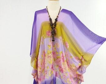 Beach Cover up Bikini Purple kaftan Hippie Boho Tonic Comportable Topdress Maternity Mini Sheer Dress Plus size see through saxy
