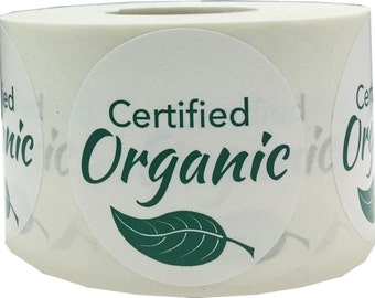 """Certified Organic Stickers   Food Allergy Warning Labels - 1.5"""" Round - 500 Stickers"""