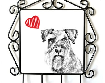 Schnauzer- clothes hanger with an image of a dog. Collection. Dog with heart.