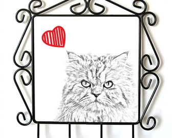 Persian- clothes hanger with an image of a cat. Collection. Cat with heart.