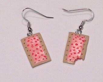 Handmade polymer clay toaster pastry pop tart dangle earrings