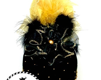 Black Party Hat With Splashes of Gold
