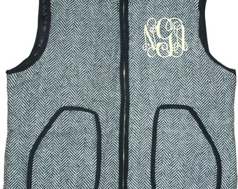 Herringbone Tweed Vest w/monogram for Women