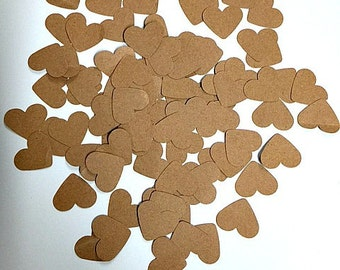 Rusitc Brown Hearts- Confetti- 100 Hearts- Rustic Decorations- Wedding - Bridal Shower - Engagement Party, Brown, Love ,Table Decor, Party!!
