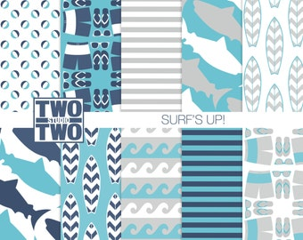 "Surfing Digital Paper: ""SURF'S UP!"" with Surfboard and Waves Patterns for Party Invitations, Decorations or Nursery Art and Kids Room Decor"