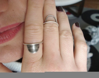Geometric Stacking Rings - Silver half-moon ring set- Stackable Rings - Unique Design -  Minimal Semicircle for her- Set of Silver Rings