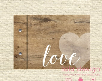 """Guestbook A5 - """"Rustic Heart"""" for Weddings, Engagements and Parties"""