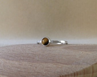 Golden Tiger's Eye Sterling and Fine silver ring