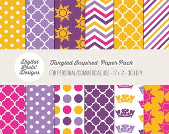 INSTANT DOWNLOAD - 12 Tangled Digital Papers / Scrapbooking, Crafts, Invitations, Digital Scrapbooking for Commercial & Personal Use