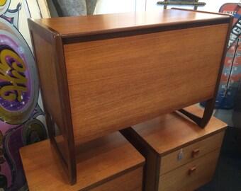 SOLD: 1970s Teak framed Record Cabinet / Media Unit. Vintage / Retro / Mid Century