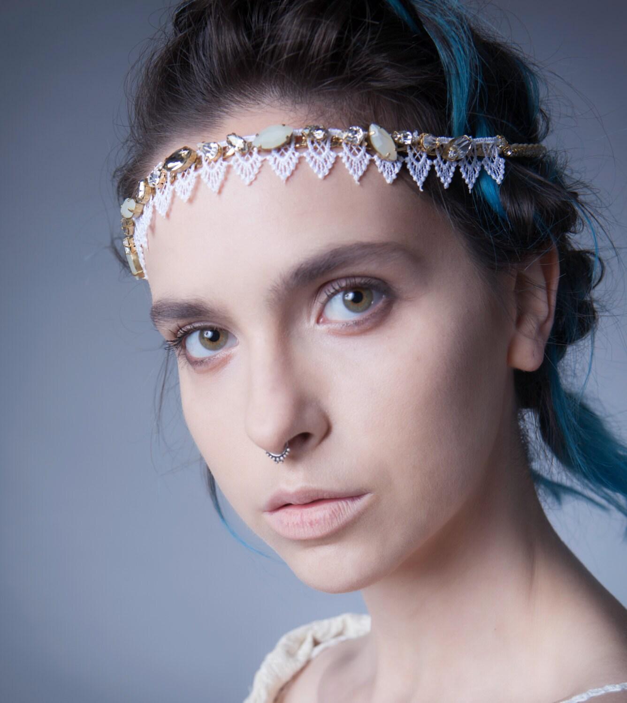 Headpieces For Weddings Australia: Adele Bridal Swarovski Headpiece-Boho Chic Crown-Fairy