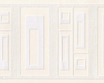 Cream Emboss Squares 94290 Wallpaper Border