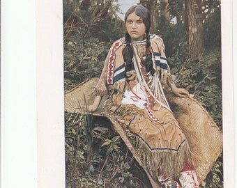 "Ojibwa Maiden Wonderful Indian Print,Rich Color, 6.5"" X 10"""