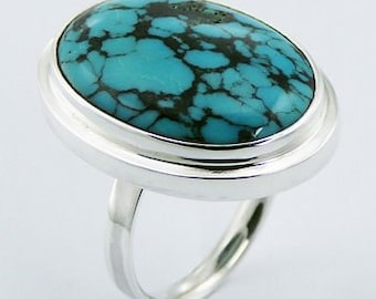 Turquoise Oval Silver Ring