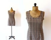 vintage jumper 90's dress plaid grunge clothing tan brown 1990's women's size small s
