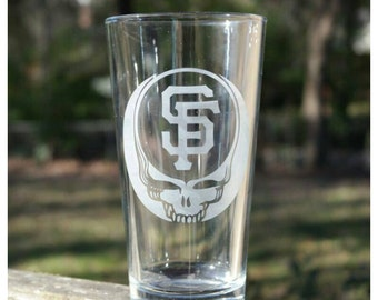 Grateful Dead Pint Glass SHIPPING INCLUDED San Francisco Giants Etched Tempered Pub Glass Grateful Dead Barware