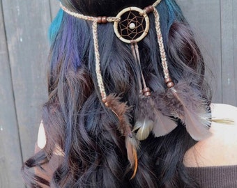 Dreamcatcher Feather Headband - Brown Feather Headband - Hair Accessories - Tribal - Native American - Indian - Burning Man