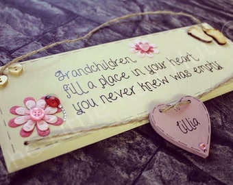 Bespoke/personalised handmade wooden plaque Grandchildren/Grandparent gift with ONE HEART