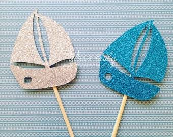 Glitter boat cupcake toppers! (Pk of 20)