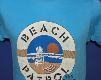 Vintage 80s San Francisco Beach Patrol Thin soft teal blue t shirt rare *S
