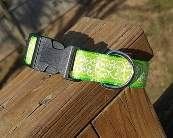 Lime Glitter Swirls - Collars and Leashes