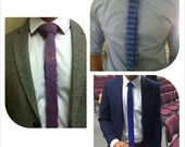 Hand knitted man's skinny tie tweedy look, various shades plus one pair of mittens