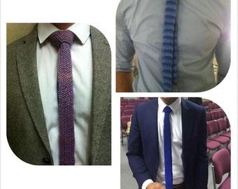 Hand knitted man's skinny tie tweedy look, various shades