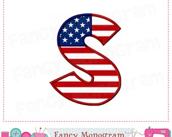 July of 4th Monogram S applique,Independence Day Letter S applique,S,Font S,Independence Day applique,the Old Glory,Patriots applique.