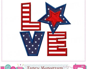 4th of July with LOVE,Independence Day applique,Patriotic applique,4th of July,LOVE applique,LOVE design.-12
