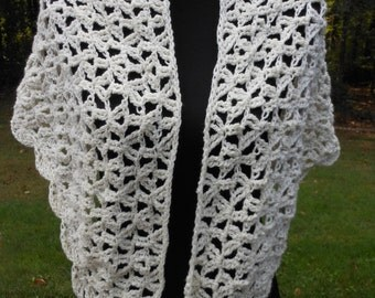 crochet winter white sparkle triangle shoulder wrap , ladies accessory, wedding over the shoulder scarf, Reduced for the holidays