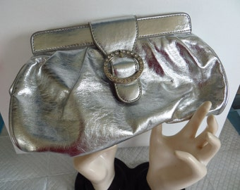 Vintage  Evening Bag Clutch Metallic Silver Rhinestone Closure