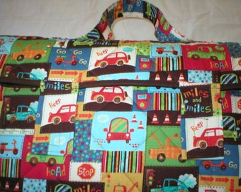 Cotton Nap Mat with Attached Pillow and Blanket - Vehicles