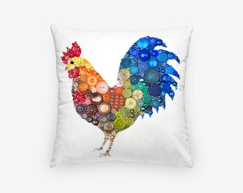 Rooster Pillow Case - Small Pillow Cover - 16x16 Pillow Case - Farmhouse Cottage Decor - Rustic Rooster Decor Pillow - Rooster Pillow Cover