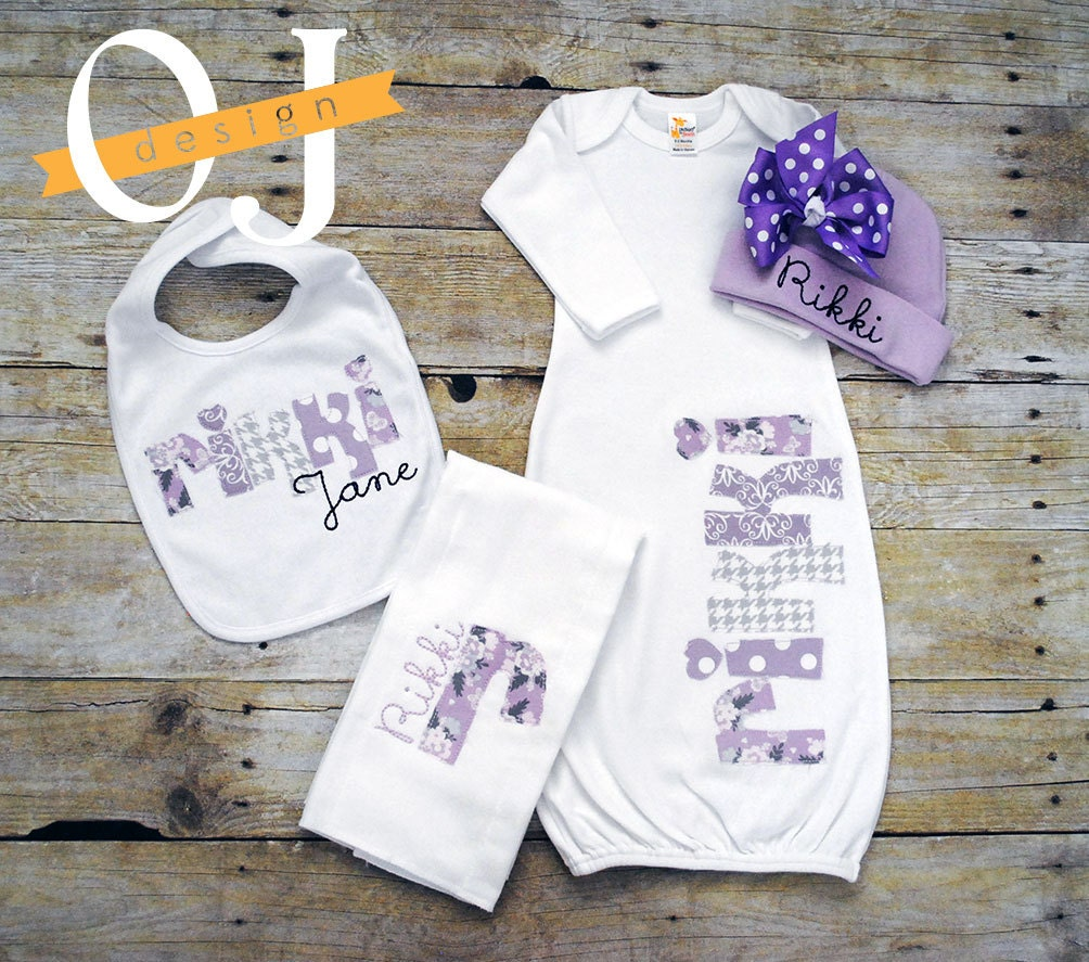 Baby Gift With Name : Personalized baby girl name infant gift set