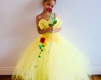Disney Belle Beauty & the Beast inspired dress with hand-made Rose Clip, Age 3yrs - 12 yrs
