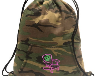 Sweatshirt material cinch bag with front pocket and embroidered spirit design - Adirondack Chair  - Multiple Colors - Camouflage - BG614
