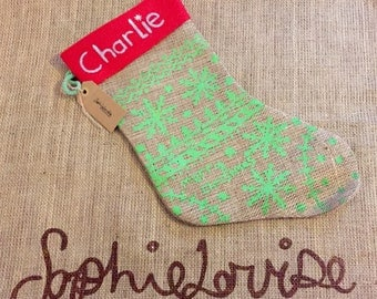 Personalised hand printed stocking