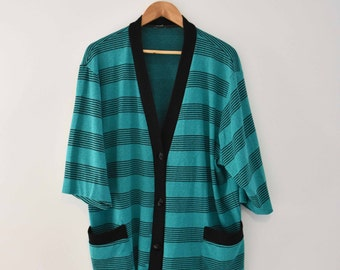 Oversize Teal Striped Cardigan