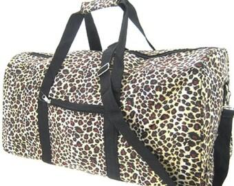 "Monogrammed 22"" Leopard Cheetah DUFFLE Bag - Getaway Bag, Gym Bag, Travel Carry on,  Monogrammed gifts, Women Gifts,"