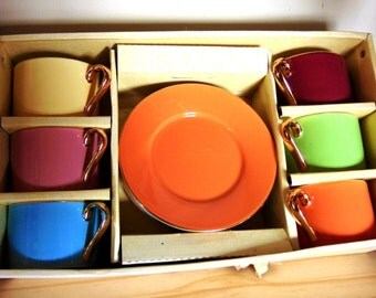 Vintage Boxed Multi colored porcelain six coffee cup and saucer set